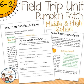 Pumpkin Patch Field Trip Unit - Middle & High School