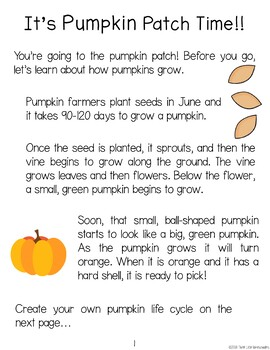 Pumpkin Patch Field Trip Unit - PreK Preschool and Kindergarten