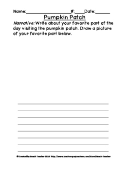Pumpkin Patch Field Trip Writing