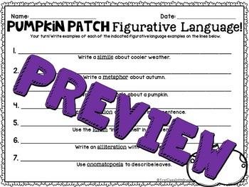 Pumpkin Patch Figurative Language (Pumpkin/Autumn Literary Device Unit)