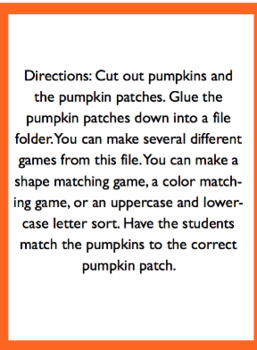 Pumpkin Patch File Folder Game