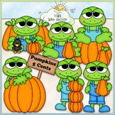 Pumpkin Patch Frogs Clip Art - Autumn / Fall Clip Art - CU