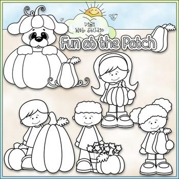 Pumpkin Patch Fun Clip Art - Autumn - Fall Clip Art - CU Clip Art & B&W