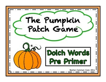 Pumpkin Patch Game Dolch Words Pre Primer List
