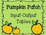 Pumpkin Patch Input/Output Tables