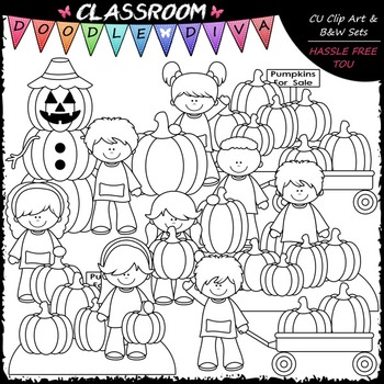Pumpkin Patch Kids Clip Art - Fall Clip Art - Autumn Clip Art & B&W Set