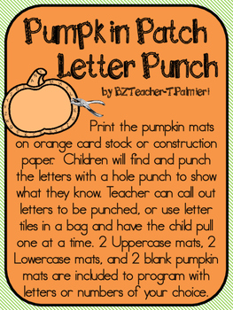 Pumpkin Patch Letter Punch - Upper and Lower case