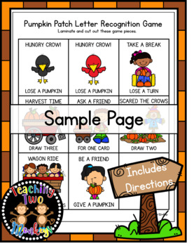 Pumpkin Patch Letter Recognition Card Game Circle Time Activity