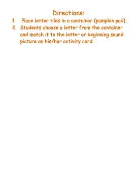 Pumpkin Patch Match - A Word Work Activity