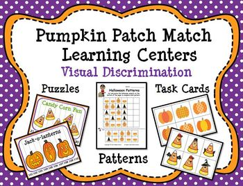 Halloween Pumpkin Patch Match Learning Centers:  Visual Di