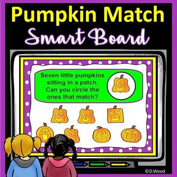 Halloween Pumpkin Patch Match Smartboard:  Visual Discrimination