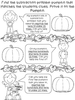 Pumpkin Patch Match {Subtraction with Regrouping Scavenger Hunt}