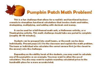 Pumpkin Patch Math Challenge
