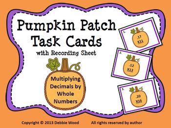 Halloween Pumpkin Patch Math Learning Centers: Multiplying Decimals