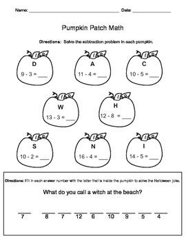 Pumpkin Patch Math (Subtraction)
