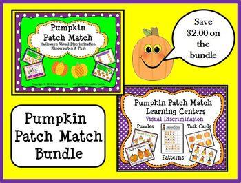 Halloween Pumpkin Patch Match Bundle:  Learning Centers an