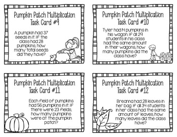 Multiplication Task Cards Story Problems Pumpkin Patch