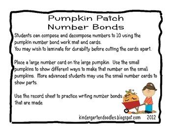 Pumpkin Patch Number Bonds 1 - 10