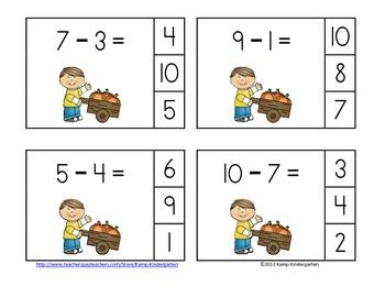 Pumpkin Patch Pals Subtraction Math Centers (Minuends to 10)