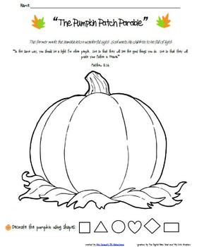 photo relating to Pumpkin Patch Parable Printable titled The Pumpkin Patch Parable Worksheets Education Supplies TpT