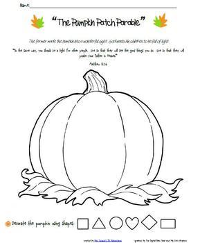 Pumpkin Patch Parable Follow Up Activities