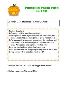 Pumpkin Patch Path to 120 - Halloween Math Game