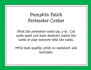 Pumpkin Patch Perimeter and Area Centers