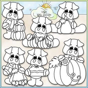 Pumpkin Patch Pigs Clip Art - Fall Pigs, Autumn Pigs - CU Clip Art & B&W