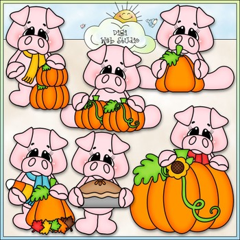 Pumpkin Patch Pigs Clip Art - Fall Pigs, Autumn Pigs - CU Clip Art & B&W