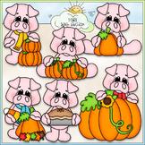 Pumpkin Patch Pigs Clip Art - Fall Pigs, Autumn Pigs - CU