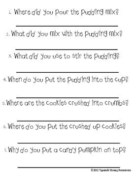 Pumpkin Patch Pudding: Follow Directions & WH questions