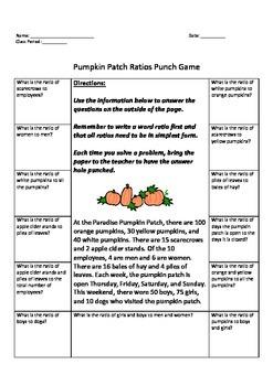Pumpkin Patch Ratios Punch Game