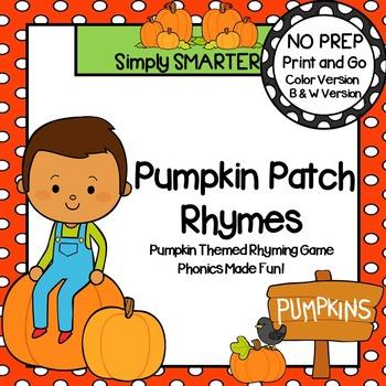 Pumpkin Patch Rhymes:  NO PREP Pumpkin Themed Rhyming Board Game