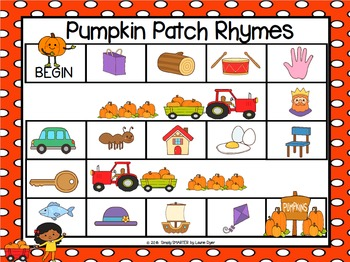 Pumpkin Patch Rhymes:  NO PREP Pumpkin Themed Rhyming Board Game