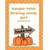 Pumpkin Patch Rhyming Words Sort