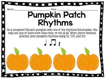Pumpkin Patch Rhythms: Practice for Quarter Note/Rest, and Beamed Eighth Notes