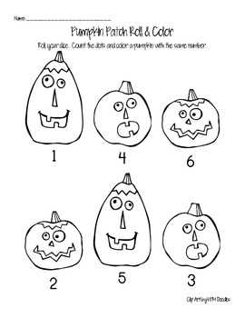 Pumpkin Patch Roll & Color Numbers 1-6
