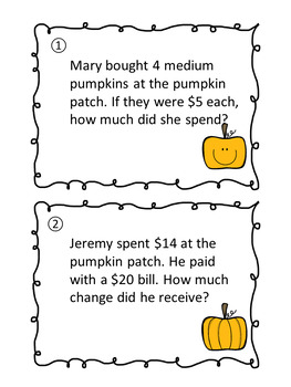Fall Pumpkin Patch Word Problems Scavenger Hunt