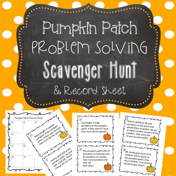 Fall Pumpkin Patch Word Problems Scavenger Hunt