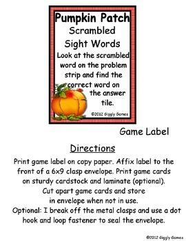 Pumpkin Patch Scrambled Sight Words Envelope Center