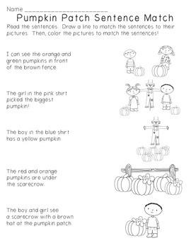 Pumpkin Patch Sentence Match FREEBIE