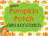 Pumpkin Patch Sight Word Match