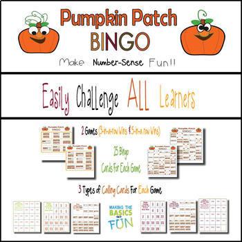 Pumpkin Patch Ten Frame Bingo - Set 2- Practice Numbers 1-20- Full Class Set
