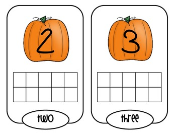 Pumpkin Patch Ten Frame Center Activity in English or Spanish