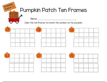 Pumpkin Patch Ten Frames 10-20 (mixed)
