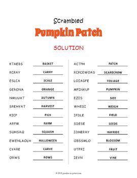 Pumpkin Vocabulary Word Scramble Puzzle