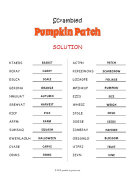 Pumpkin Vocabulary Word Scramble