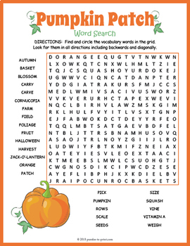 Pumpkin Word Search Puzzle