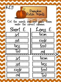 Pumpkin Patch Words Worksheet