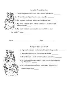 Pumpkin Path Math Riddle Rubric and Checklist